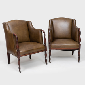 Pair of George III Style Mahogany and Leather Armchairs