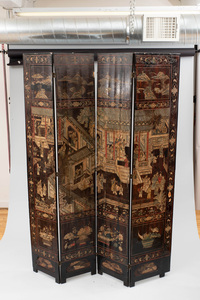 Chinese Four Panel Coromandel Lacquer Screen