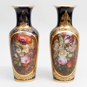 Pair of Paris Porcelain Cobalt Ground Vases