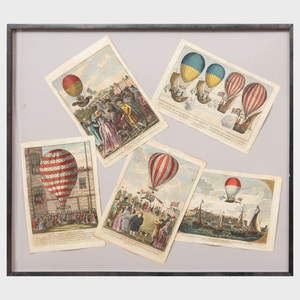 Collage of French Hand-Colored Prints Documenting 18th Century Ballooning Events