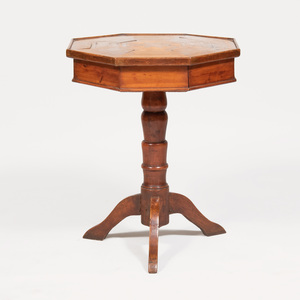 Continental Walnut and Fruitwood Parquetry Octagonal Shaped Side Table