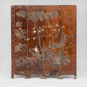 Chinese Four Panel Brown Lacquer Coromandel Screen