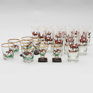 Collection of Twenty-Two Enamel Decorated 'Hunting' Scene Glasses, Probably Retailed by Abercrombie & Fitch