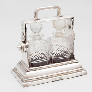 Victorian Silver Plate Betjemann's Patent Two Bottle Tantalus