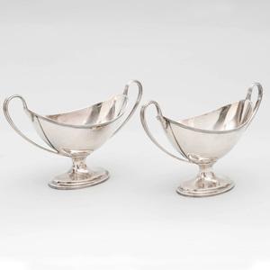 Pair of George III Silver Navette Form Sauce Tureens