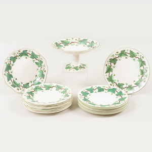Wedgwood Transfer Printed and Enriched Creamware Part Lunch Service in the 'Napoleon Ivy' Pattern