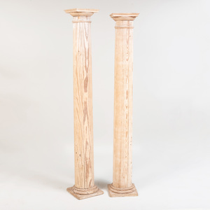 Pair of Tall Pickled Pine Columns