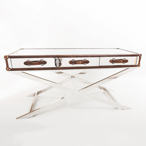 Ralph Lauren Style Leather Mounted Chrome Desk
