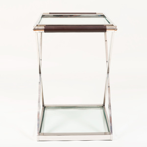 Ralph Lauren Leather Mounted Chrome and Glass 'Cliff House' Bar