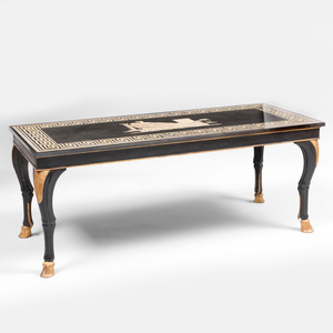 Fine Italian Scagliola Top on an Ebonized and Parcel-Gilt Low Table
