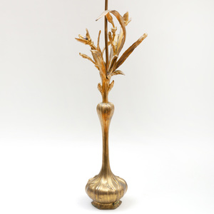 Art Nouveau Style Gilt-Bronze Floriform Lamp