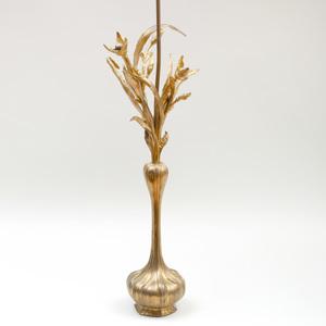 Art Nouveau Style Gilt-Bronze Floriform Lamp