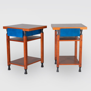 Pair of Contemporary Painted and Ebonized Mahogany Side Tables