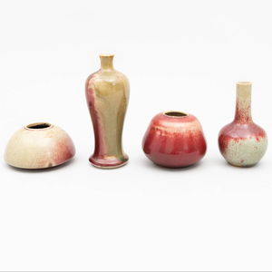 Four Chinese Small Copper Red Glazed Porcelain Vases