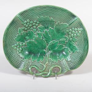 Davenport Green Glazed Porcelain Basket Weave Dish