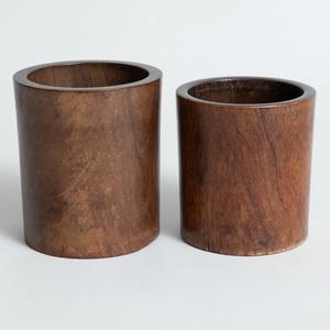 Two Chinese Hardwood Brush Pots