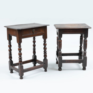 English Oak Joint Stool and an English Oak Side Table