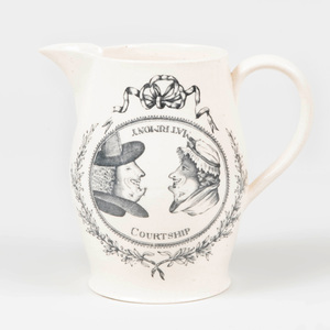 Staffordshire Transfer Creamware 'Matrimony' and 'Courtship'  Jug