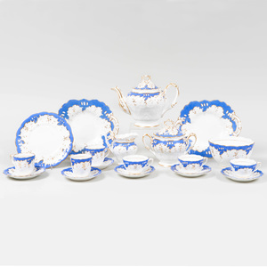 English Porcelain Blue Ground Part Tea Service