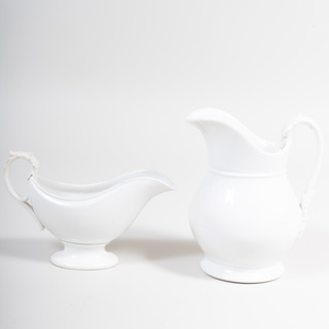 French Porcelain White Glazed Pitcher and Pearlware Sauce Boat