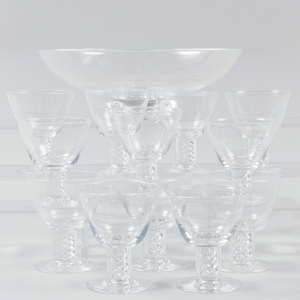 Twelve Steuben Cocktail Glasses with Air Twist Stems and a Fruit Bowl
