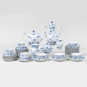 Royal Copenhagen Porcelain Part Tea and Coffee Service in the 'Blue Lace' Pattern