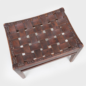 Small Arts & Crafts Oak and Leather Stool