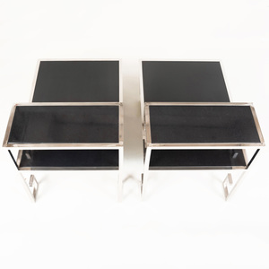 Pair of Greek Key Chrome and Polished Stone Side Tables