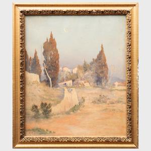 Georges Costeau (?-1920): Paysage Méditerranéen