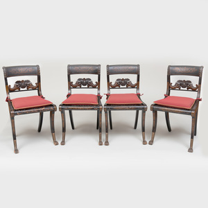 Set of Four Late Federal Stenciled and Caned