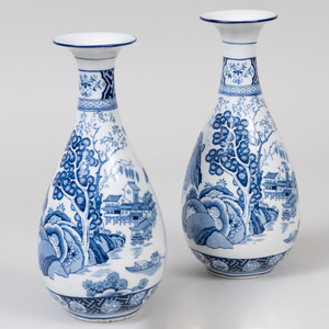 Pair of Wood and Sons Transfer Printed Porcelain Bottle Vases in the 'Kang-Hi' Pattern