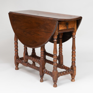 William and Mary Style English Oak Gate Leg Table