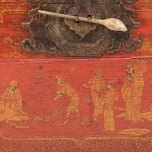 Pair of Chinese Metal-Mounted Painted and Parcel-Gilt Trunks