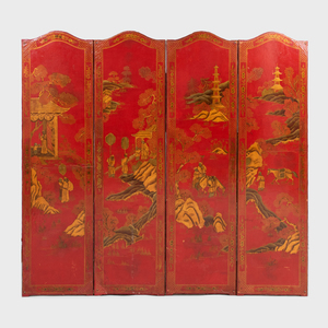 Chinoiserie Japanned and Parcel-Gilt Four Panel Screen