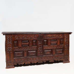 Large Continental Carved Oak Coffer, Possibly French