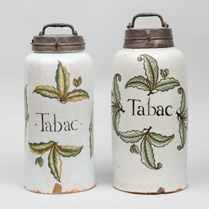 Two French Faience Tobacco Jars with Pewter Covers