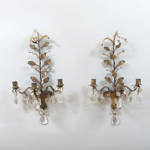 Pair of French Three Light Gilt-Metal and Glass Luster Sconces, After Maison Baguès