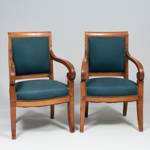 Pair of Empire Style Fruitwood Fauteuils en Cabriolet