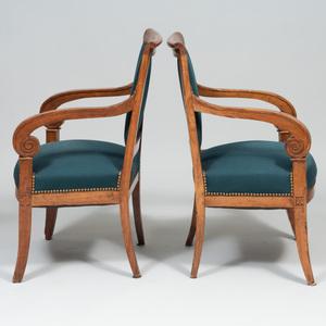 Pair of Empire Style Fruitwood Fauteuils en Cabriolet