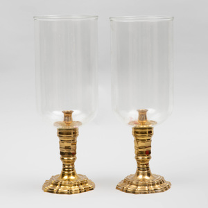 Pair of Louis XIV Style Brass and Glass Photophores