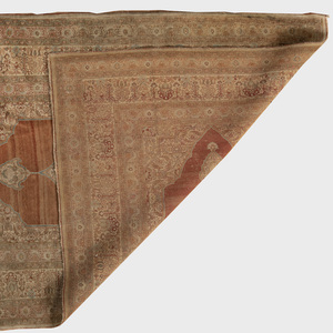 Persian Kirman Cream Ground Central Medallion Carpet