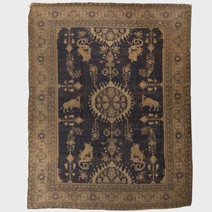Indian Blue Ground Animal Carpet