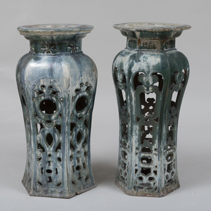 Near Pair of Chinese Glazed  Pottery Pedestals