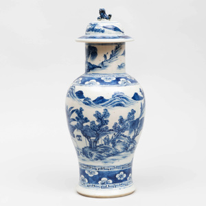 Chinese Blue and White Porcelain Baluster Jar and Cover
