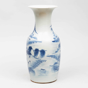 Chinese Blue and White Porcelain Baluster Vase