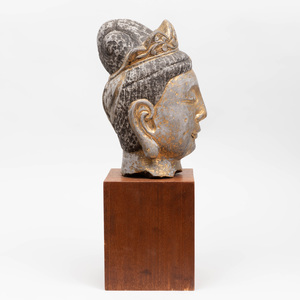 Chinese Polychrome and Parcel-Gilt Stone Head of Guanyin