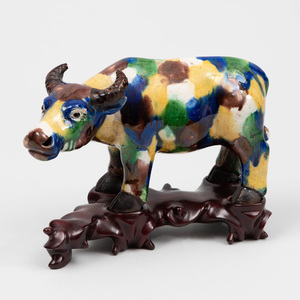 Chinese Yellow, Aubergine, Green and Blue Glazed Porcelain Figure of a Water Buffalo