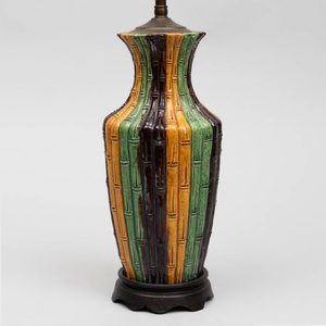 Chinese Green, Yellow and Aubergine Glazed Porcelain Faux Bamboo Vase, Mounted as a Lamp
