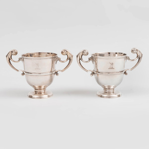 Pair of Irish Silver Two Handled Cups