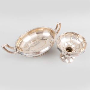 German Silver Two Handled Center Bowl and a Compote